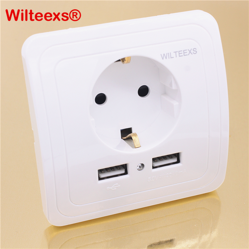 WILTEEXS Dual USB Port 5V 2A Electric Wall Charger Adapter EU Plug Socket Switch Power Dock Station Charging Outlet Panel WHITE