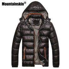 Mountainskin 付きメンズ冬ジャケットカジュアルパーカー男性コート厚い熱光沢のあるコートスリムフィットブランド服 7XL SA045