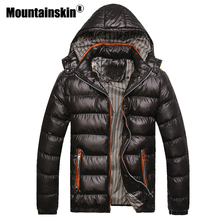Mountainskin ברדס גברים של חורף מעילים מקרית מעיילי גברים מעילי עבה תרמית מבריק מעילי Slim Fit מותג בגדי 7XL SA045