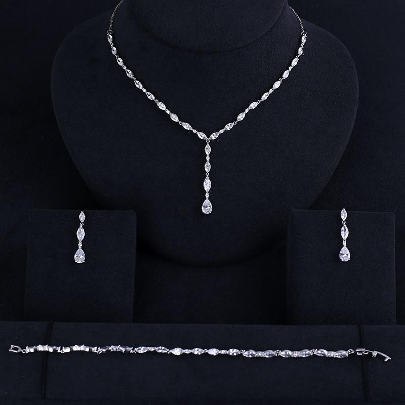 Earrings Bracelet Jewelry-Sets Bridal-Necklace Brides Wedding Cubic-Zirconia Luxury Big