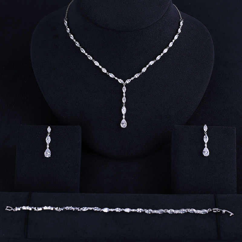 Luxury Elegant Shape Bridal Necklace Bracelet Earrings Gulf full set Cubic Zirconia Big Wedding Jewelry Sets For Brides