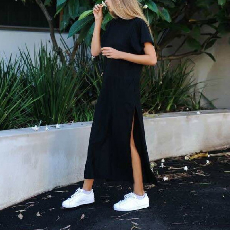 2017 Summer Side High Slit Women Sex Dress Short Sleeves Solid Black New Fashion Clothing