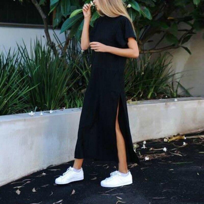 מקס טי חולצה שמלה נשים קיץ חוף סקסי קים Kardashian אוקראינה Kyliejenner פשתן Boho ארוך שחור bodycon שמלות פלוס מידה