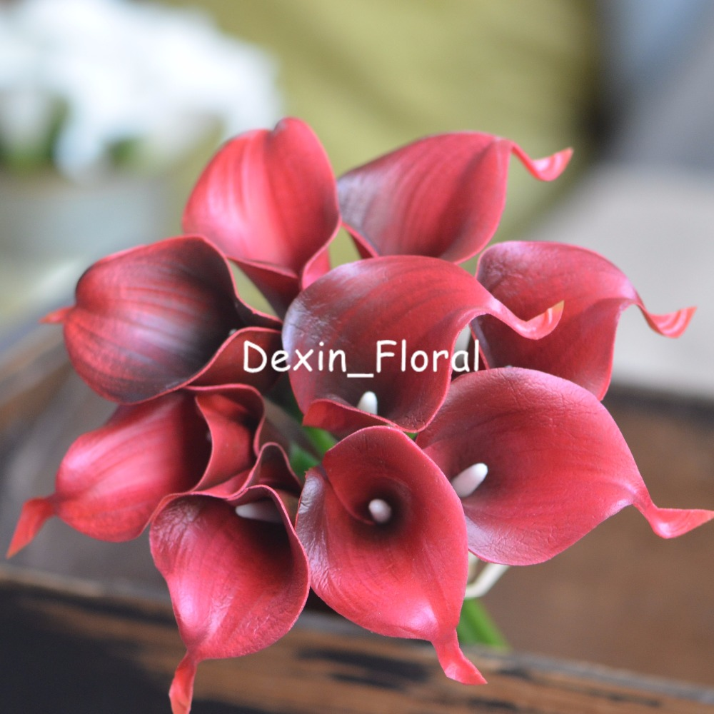 Dark Red Calla Lilies Real Touch Flowers For Silk Wedding Bouquets