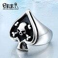 Байкер тайском стиле серебро мужская титана стали череп лопаты кольцо указательный палец кольцо новый BR8-189 - фото