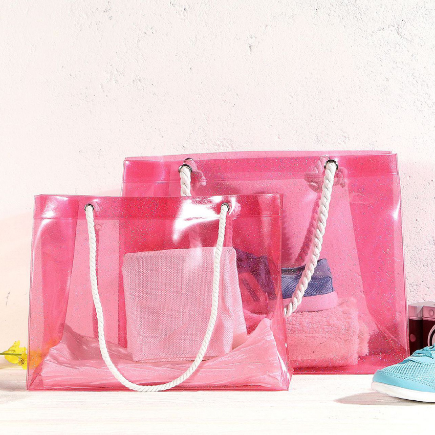 PVC Waterproof Women's Swimming Bag Transparent Bathe Wash Storage Handbag Totes Beach Bag