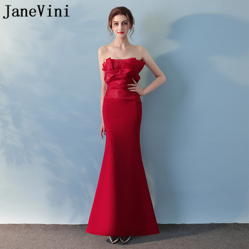 JaneVini 2018 Simple Long Bridesmaid Dresses for Wedding Satin Mermaid Strapless Zipper Back Ankle Length Women Prom Party Gowns