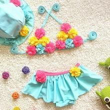 One-Piece Suit Cute Adorable Girls Summer 2017 Bikinis Off Shoulder Ruffles Floral Kids Baby Bathing Spa Beach Wearing free Hat