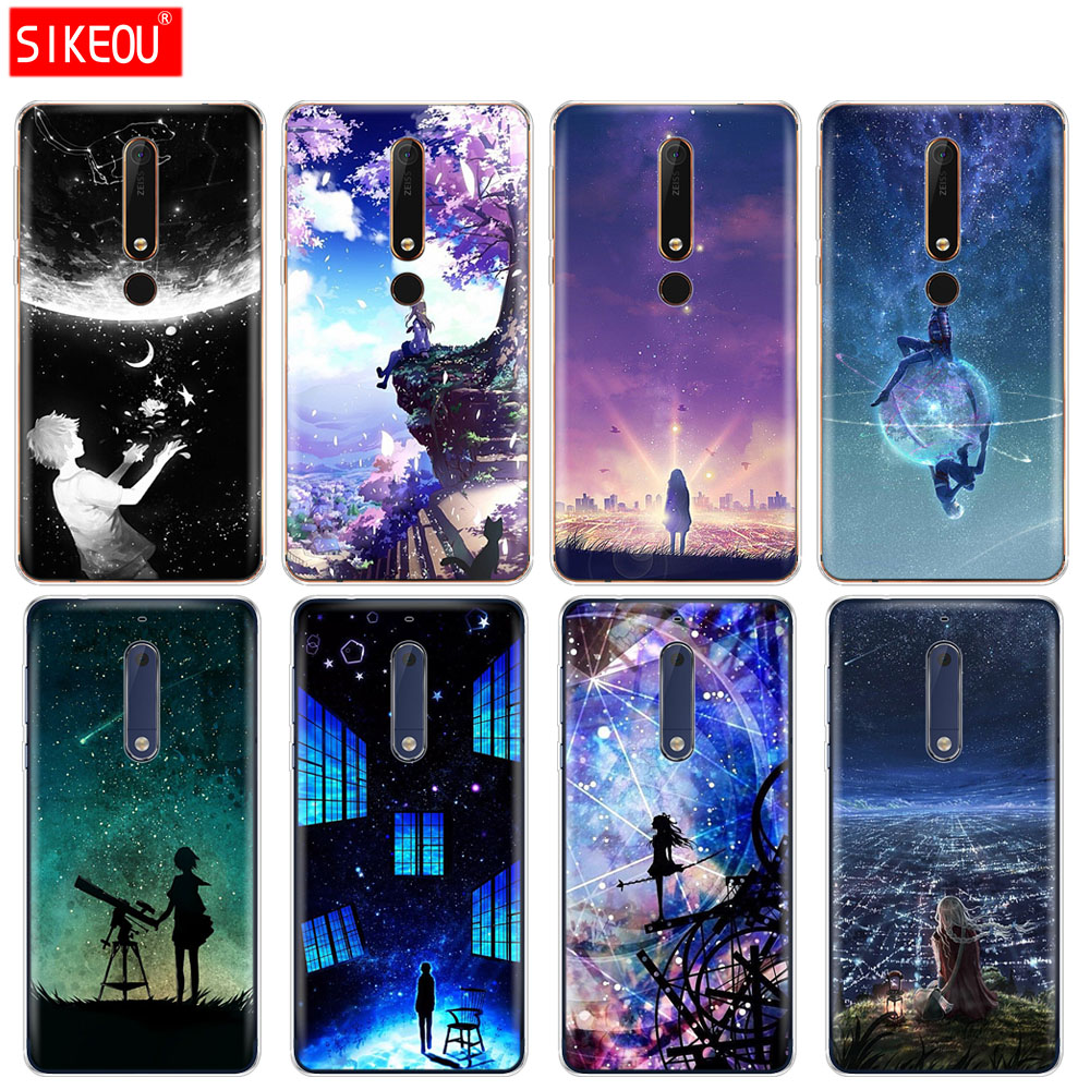 silicone <font><b>cover</b></font> phone case <font><b>for</b></font> <font><b>Nokia</b></font> 5 3 6 7 PLUS 8 9 /<font><b>Nokia</b></font> 6.1 5.1 3.1 <font><b>2.1</b></font> 6 <font><b>2018</b></font> Starry Day Anime image