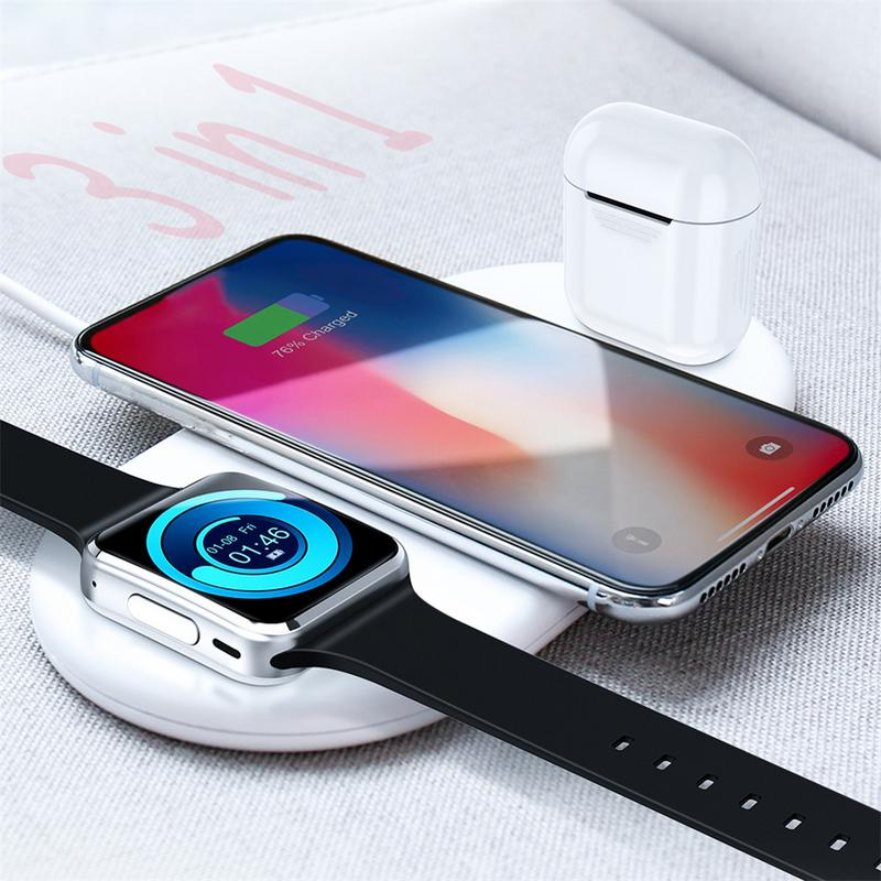 3 IN 1 QI Wireless Charger Wireless Fast Charger For IPhone X XR Xs Max For Apple Watch IWatch AirPods Mobile Phone For Samsung crested charger for apple watch band iwatch series 4 3 2 1 qi wireless iphone x 8 plus samsung 10w fast charging dock station