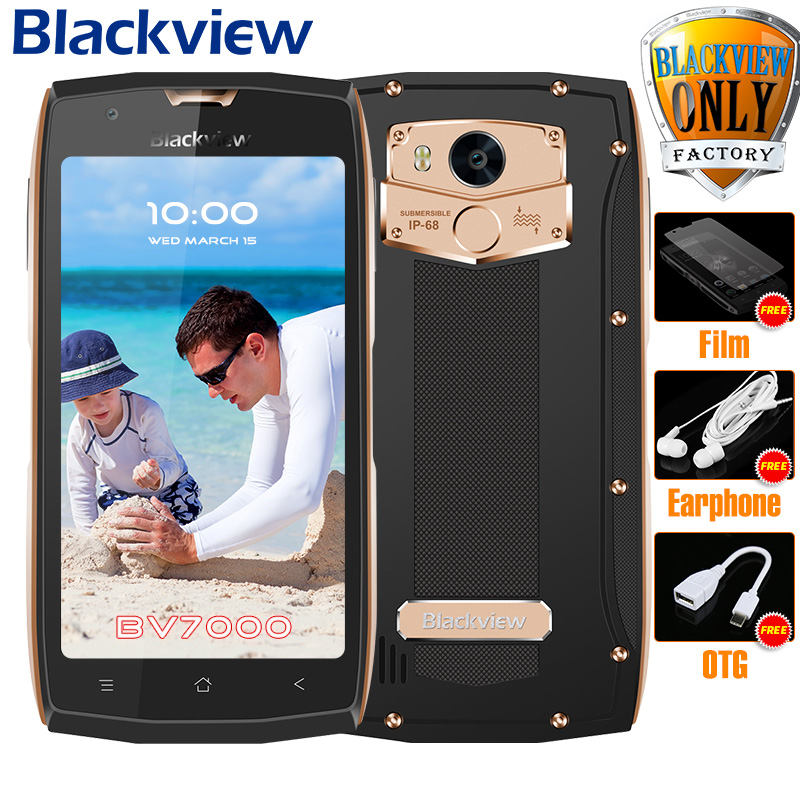 Blackview <font><b>BV7000</b></font> Mobile Phone <font><b>IP68</b></font> Waterproof MT6737T Quad Core 5.0&#8243; FHD 2G+16G Fingerprint Glonass NFC Dust proof 4G <font><b>Smartphone</b></font>
