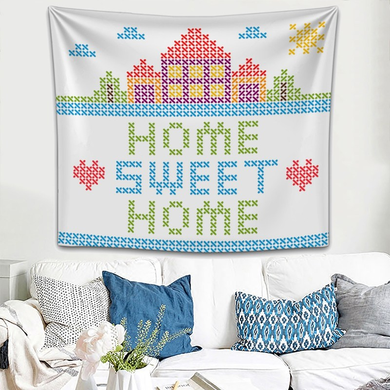 a66f2c732a302 Wall Hanging Colorful Sweet Home Wall Tapestry Decoration 150x200cm Throw  Blanket Beach Towel Picnic Yoga Mat Cloth Accessories-in Tapestry from Home  ...