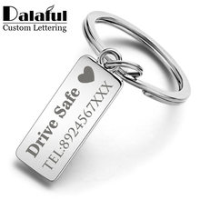 Custom Engraved Keychain For Car Logo Name Stainless Steel Personalized Gift Customized Anti-lost Keyring Key Chain Ring P009(China)