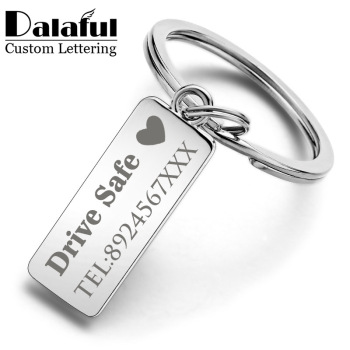 Custom Engraved Keychain For Car Logo Name Stainless Steel Personalized Gift Customized Anti-lost Keyring Key Chain Ring P009