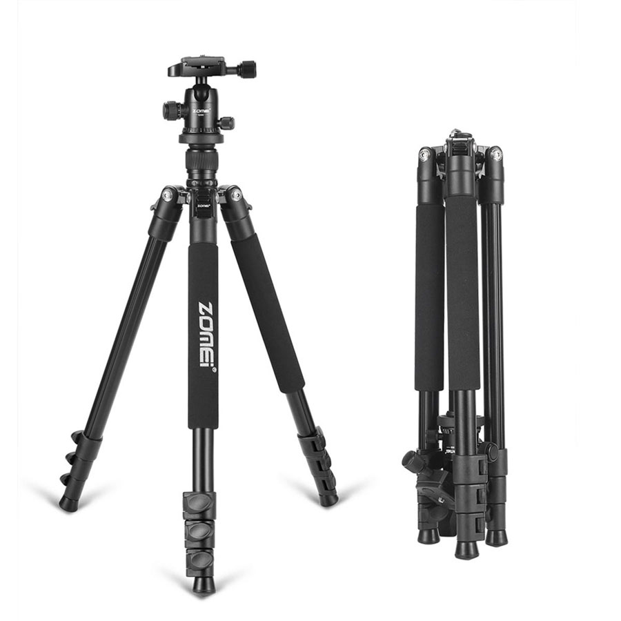 Zomei Q555 Professional Camera Tripod Portable Flexible Aluminum Tripod Stand For DSLR Cameras Tripods With 360 Degree Ball Head цена