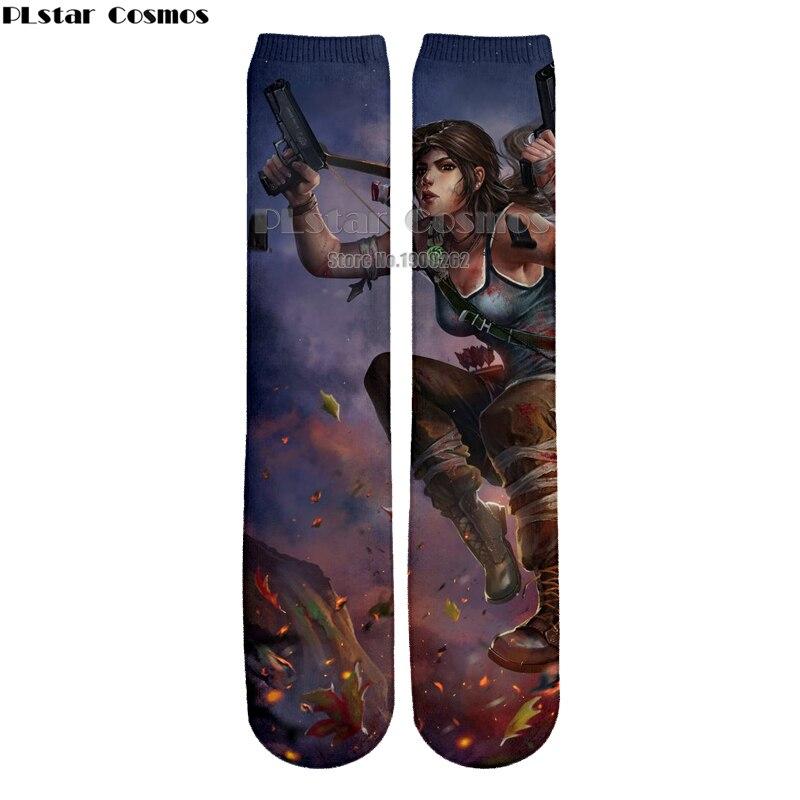 Plstar Cosmos new Tomb Raider Fantasy Action 3D High Socks Men Women high quality 3D print socks