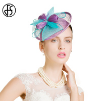 FS Summer Purple Blue Ladies Wedding Pillbox Hats And Fascinators Linen Cocktail Hat For Women French