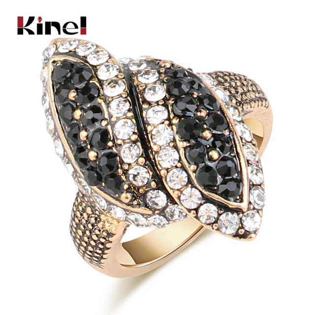 Kinel Luxury Black And White Crystal Rings For Women Color Antique Gold Fashion