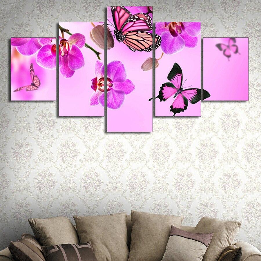 5 pièces diamant peinture papillon fleurs point de croix, kits, complet, broderie diamant, diamant, mosaïque, motif, broderie perlée, cadeau