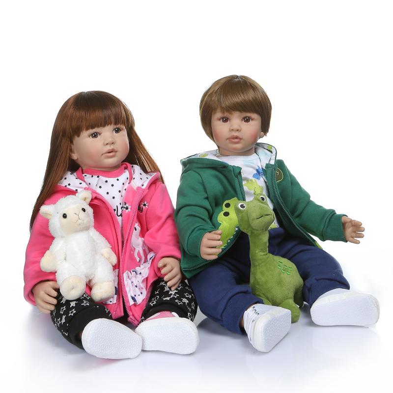 Jumeaux silicone reborn bébé poupées jouets realista filles 60 cm bambin vinyle poupée doux corps brinquedos 23 pouces cadeau pour enfants juguetes