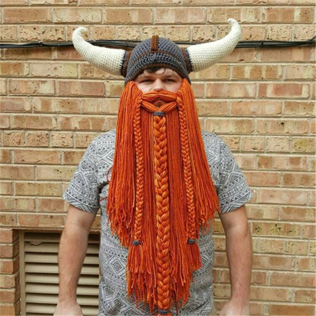 c9e55ebd93c Men s Handmade Knit Long Beard Viking Horn Hat Funny Crazy Ski Cap  Barbarian Cool Beanie Cap Mask Halloween Holiday Party Gift