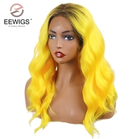 EEWIGS Ombre Yellow Short Wavy Lace Front Wig Synthetic Bob Wig With Root High Temperature Fiber Hair Lace Wigs Highlight Color