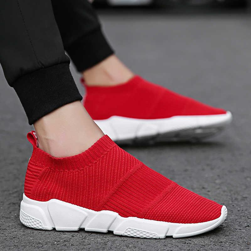 8da71bd7b Гном 2018 новые Мокасины носок туфли дышащие кроссовки обувь Для мужчин  прогулок Мужская обувь стрейч слипоны