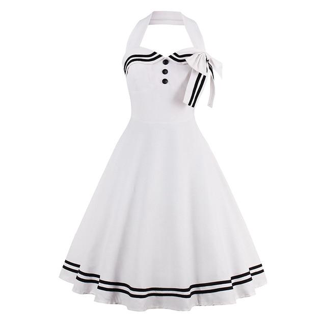 3c1430f12e3 Белое платье для девочек Холтер Твердые Винтаж Стиль платья 1960 S морских  Стиль лето Ретро бантом