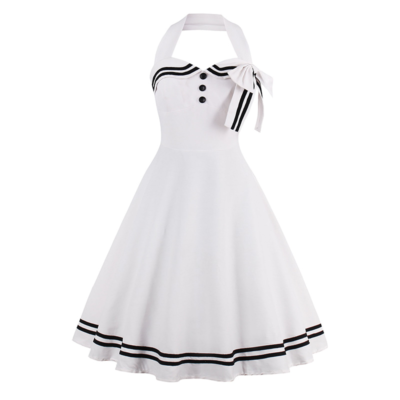 White Dress Girls Halter Solid Vintage Style Dresses 1960s nautical style summer retro bowknot sexy dress Knee-Length Strap