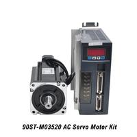 90ST M03520 AC Servo Motor Kit 0.73KW 220V Servo Motor Single Phase Motor With Matched Drive 3M Encoder Cable For CNC Machine