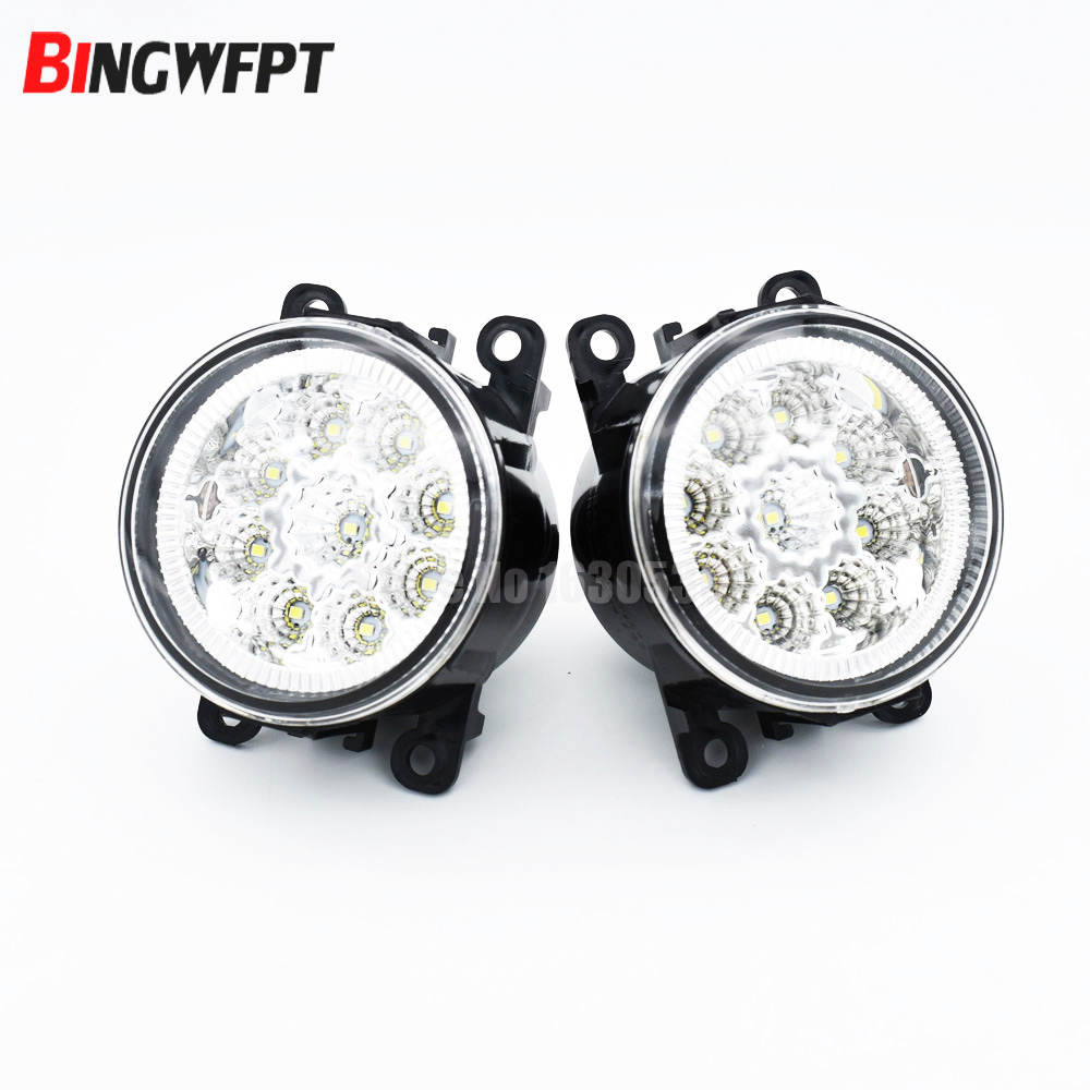 2pcs Car Styling Round Front Bumper LED Fog Lights DRL Daytime Running Driving fog lamps for Renault TRAFIC II Box FL 2001-2015 led front fog lights for toyota ractis mpv scp10 ncp10 car styling round bumper high brightness drl day driving bulb fog lamps