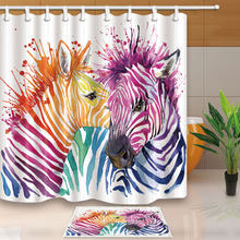 Horse Zebra Unicorn Colorful Eco Friendly Polyester High Quality Washable Bath Decor Shower Curtains For Bathroom 12 Hooks