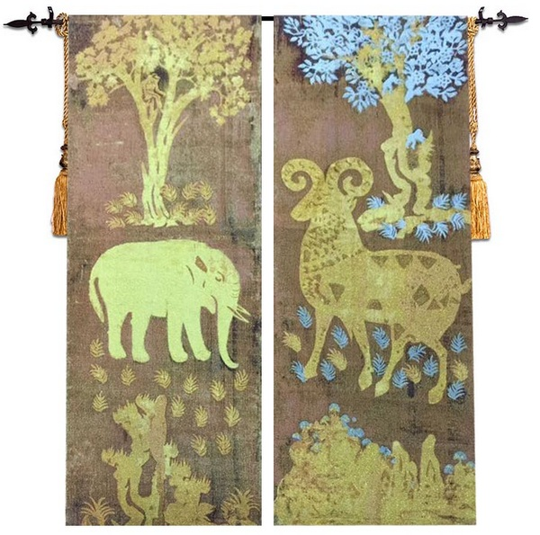 43x130cm +43x130cm 2pcs home decoration golden ship golden elephant wall hanging tapestry RS-1543x130cm +43x130cm 2pcs home decoration golden ship golden elephant wall hanging tapestry RS-15