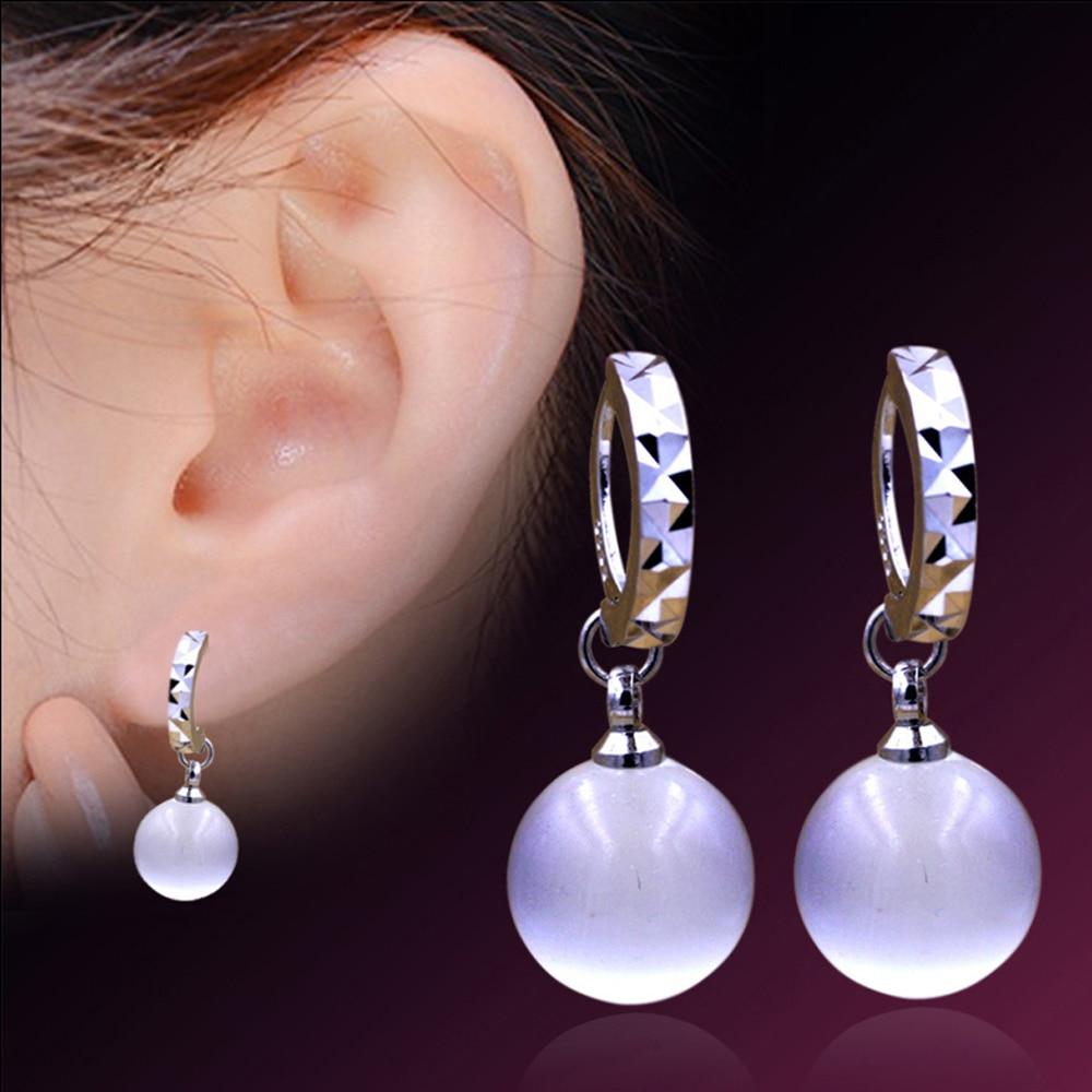 Fashion Women White Moonstone Opal Silver Stud Earrings Ear Jewelry Mirror Earring For Whole In From Accessories On