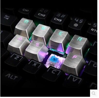 Teamwolf acier inoxydable Transparent métal Keycaps QWERASDF 8 Key Caps Cherry MX Keycap pour mécanique clavier gamers