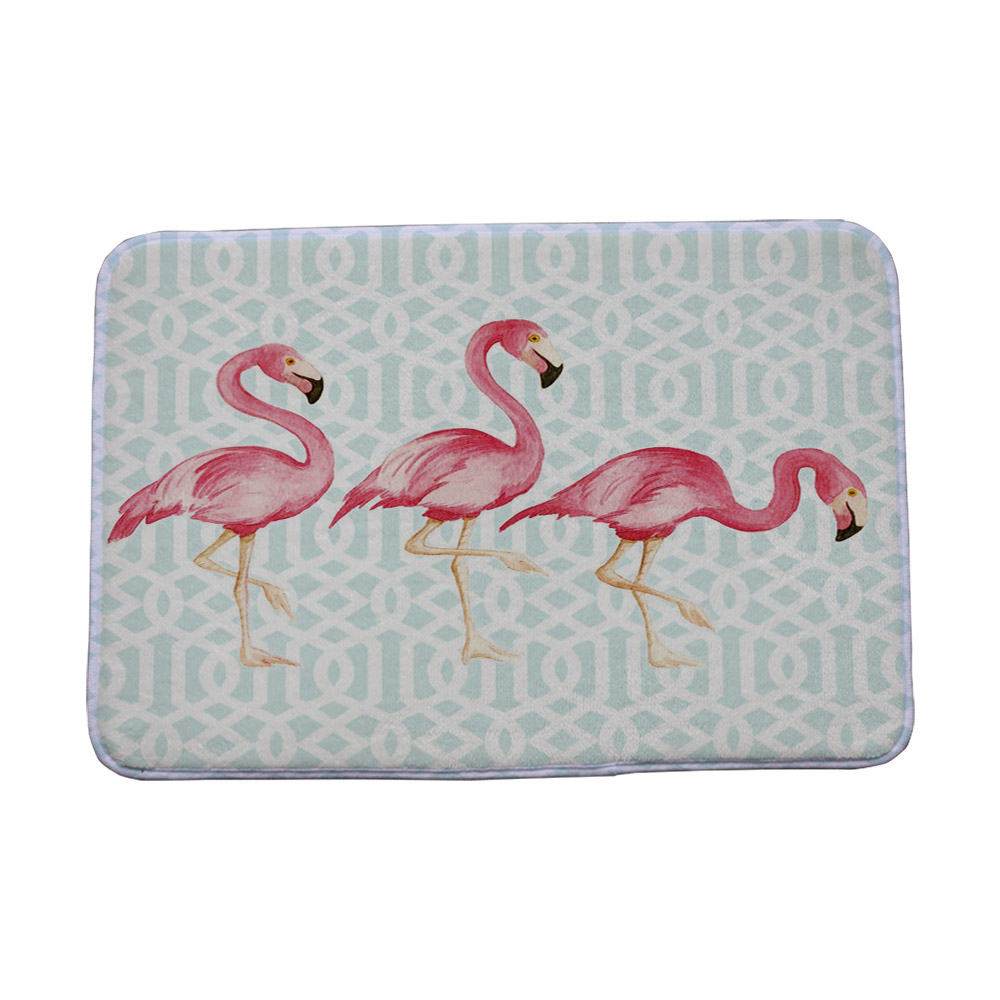 Miracille Coral Fleece Creative Pink Flamingo Pattern Home Decor Stair Outdoor Floor Mats Kitchen Carpets Bathroom Non Slip Rugs