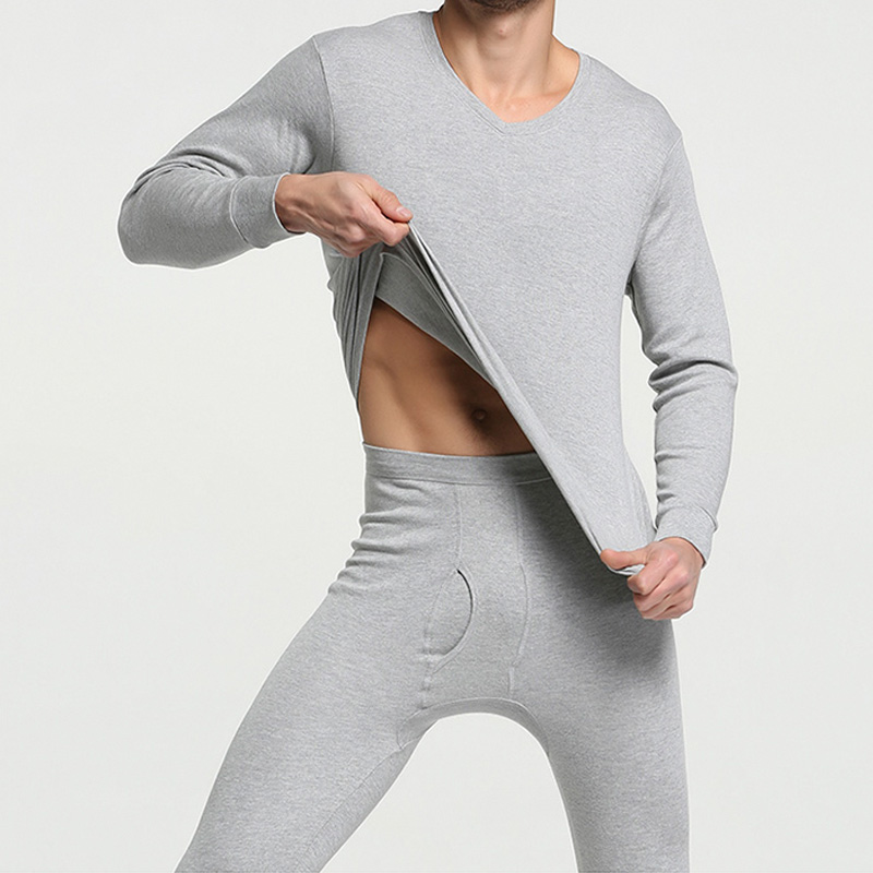 Men Thermal Underwear Men Long johns 100%Cotton Autumn winter shirt+pants 2 piece set warm Thermal Men Underwear Tops(China)