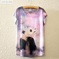 2017 Brand New Polyester T-Shirt Women Short Sleeve t-shirt o-neck Causal loose Giant Panda t shirt Summer tops for women