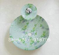 Free Shipping Glass Handcraft Bathroom Sink Wash Basins JN4085