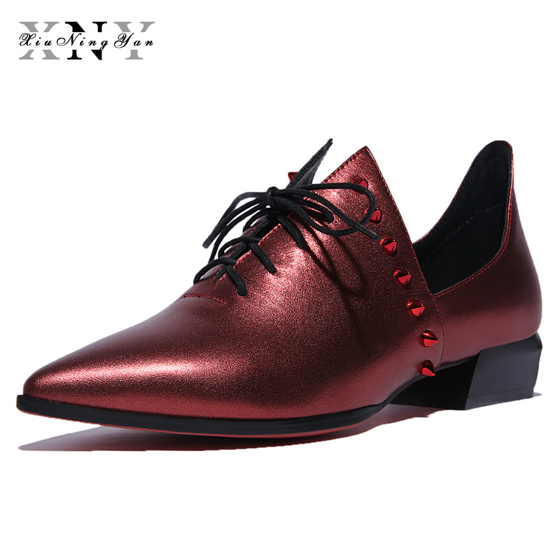 XIUNINGYAN Genuine Leather Big Size Woman Rivet Vintage Flat Casual Shoes Pointed Toe Handmade Wine Red Oxford Shoes for Women xiuningyan vintage british style oxford shoes for women genuine leather flat shoes women us size13 handmade black leather shoes