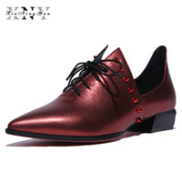 XIUNINGYAN Genuine Leather Big Size Woman Rivet Vintage Flat Casual Shoes Pointed Toe Handmade Wine Red Oxford Shoes for Women
