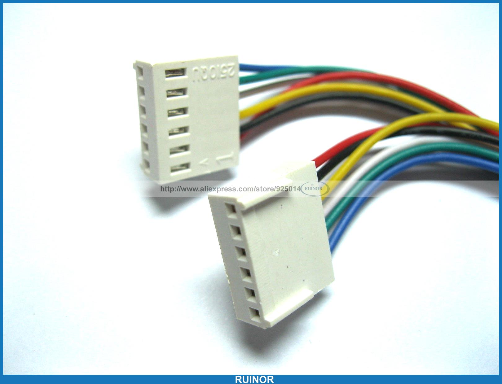 20 Pcs 2510 2.54mm Pitch 6 Pin Female Connector with 26AWG 300mm Leads Cable