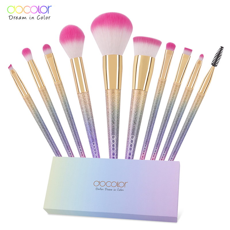 Docolor 10ピース化粧ブラシセットファンタジーセットプロフェッショナル高品質ブラシファンデーションパウダーアイシャドウキットグラデーションカラー