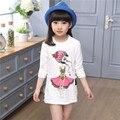2016 muchachas del otoño del algodón a manche longue niños camisetas diseños niñas Tops Camisas Blusa de Manga Larga 6 8 10 12 14 Años
