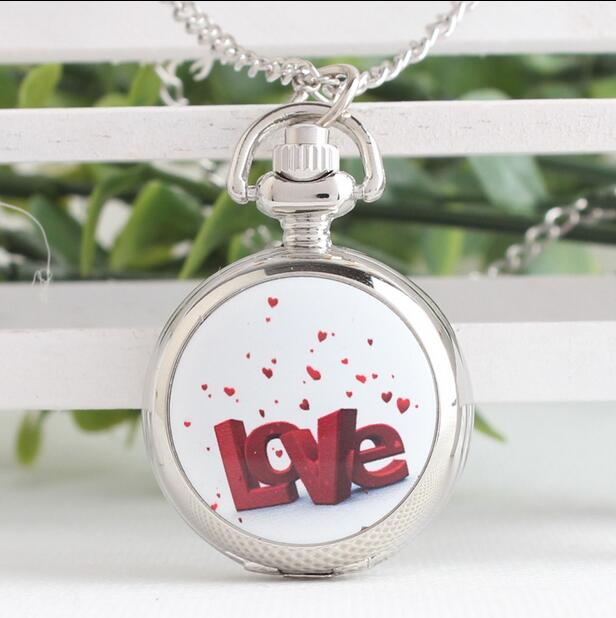 LOVE Enamel Pattern Woman And Girl Modern Hours Pendant Silver White Steel Necklace Pocket Watches Gift