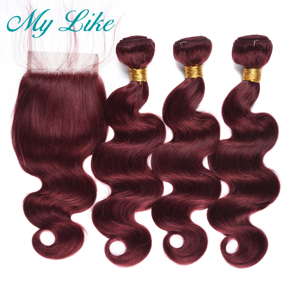 My Like Indian Hair Weave Body Wave Bundles With Closure 99J Red Burgundy Non-remy Human Hair Extension 3 Bundles With Closure