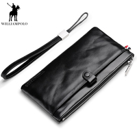 WILLIAMPOLO 2018 Business Men Wallet Luxury Long Men's Clutch Bags Male Credit card holder Purse Phone Bag PL245