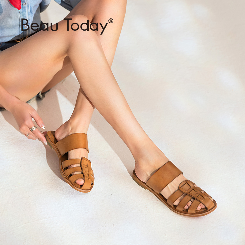 BeauToday Women Slippers Genuine Cow Leather Rome Style Flat Heel Summer Slides Top Brand Handmade 36089