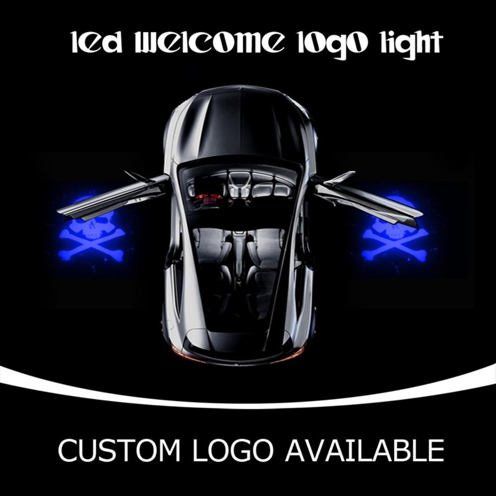 Car Door Step Ground Courtesy LED Emblem Projection Spotlight Ghost Shadow Light Badge SKULL GOBO Puddle Light 2476 Blue