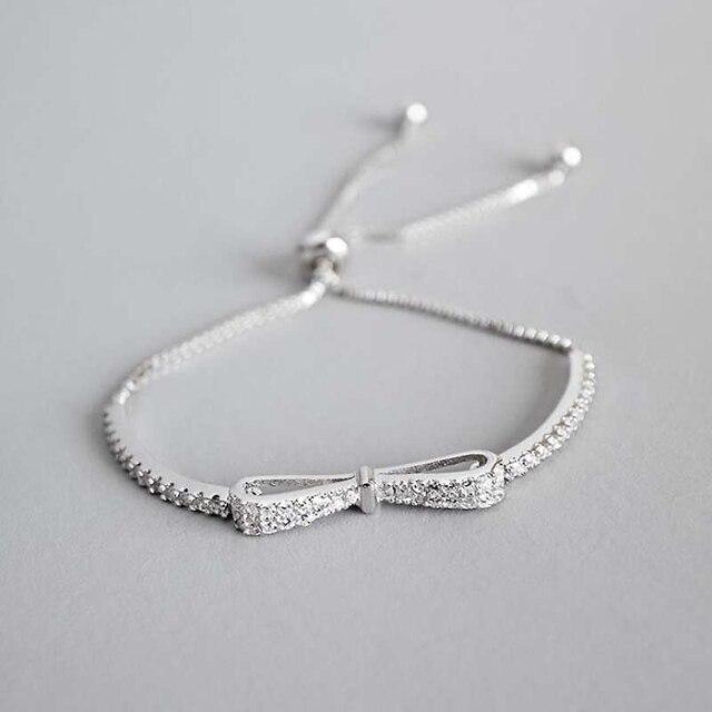 Ruifan Fashion Box Chain Bowknot 100% 925 Sterling Silver Bracelet Ladies Cubic Zircon Bracelets Female Women Jewelry YBR057